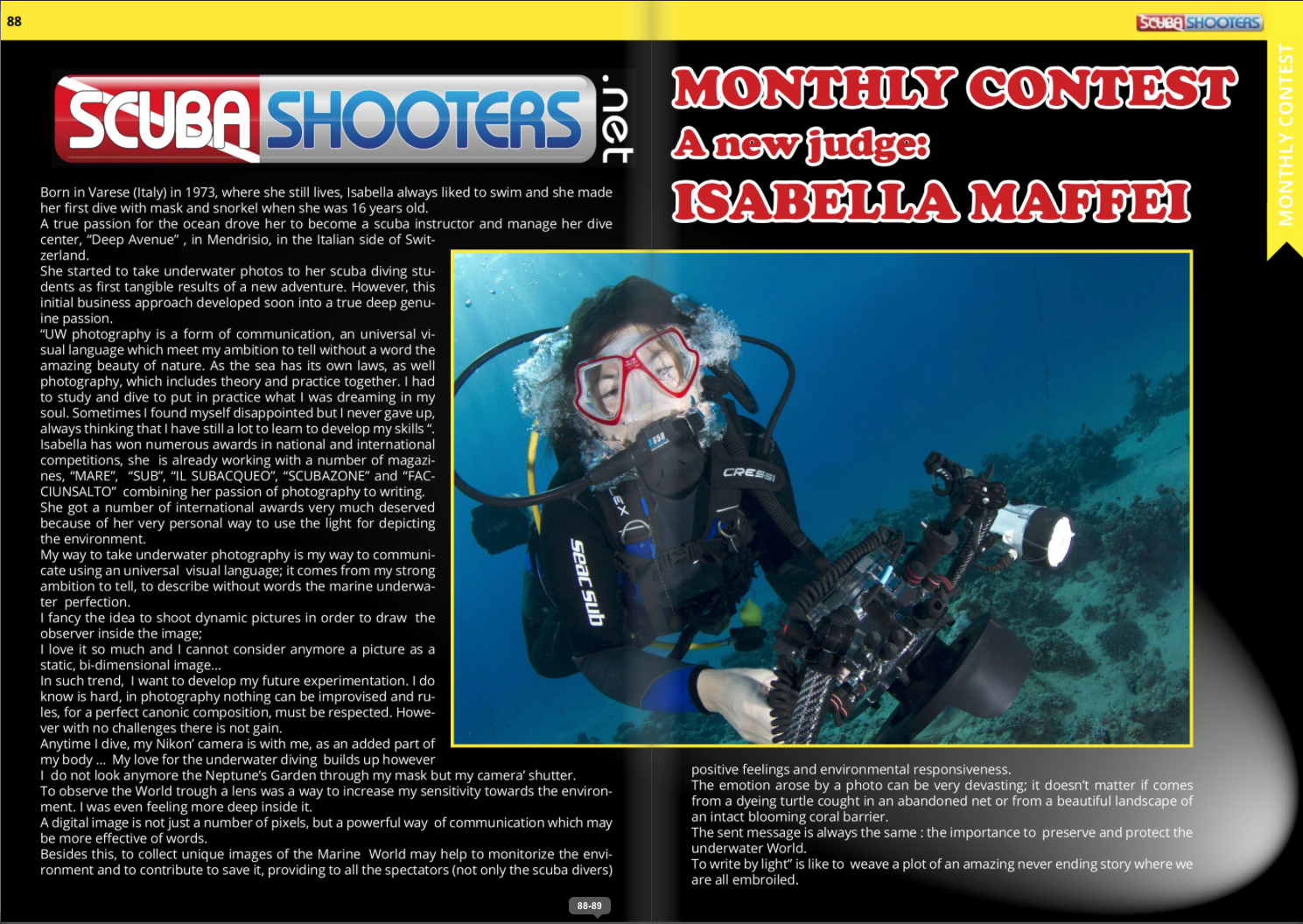 Isabella Maffei, monthly judge of scubashooters.net contest