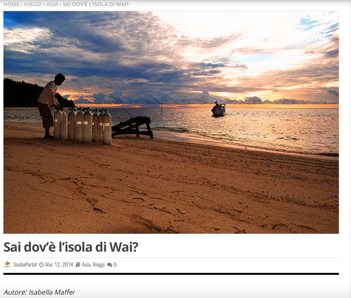"""""""Sai dov'è l'isola di Wai?"""" a review by Isabella Maffei"""